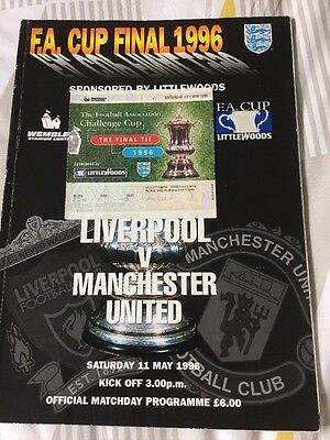 Liverpool Manchester United Fa Cup Final 1996 With Ticket