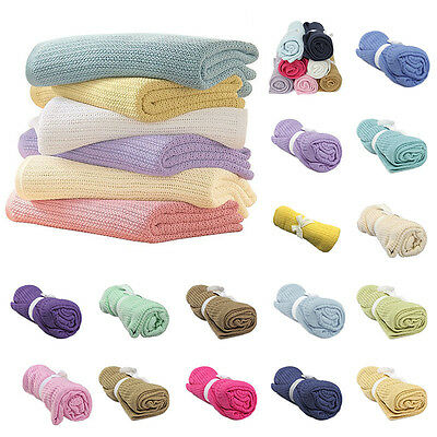 Snugly & Soft 100% Cotton Cellular Baby Blanket- Pram,Cot,Crib Infant Blanket
