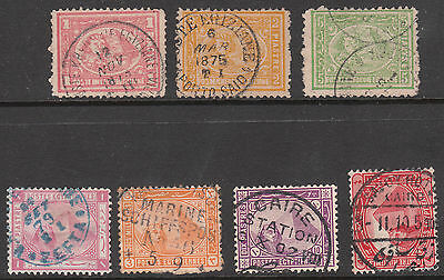 EGYPT 1872 #31b #32 #34 1879 #42 USED STAMPS incl POSTMARK SHIP RPO BLUE