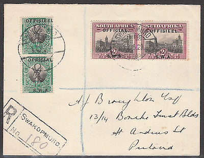 South West Africa 1929 #07 Official Reg Swakopmund Windhuk Gv Stamp Cover