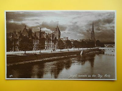 Night on the River Tay PERTH Perthshire *Vintage* RP 1913 Riverside Buildings