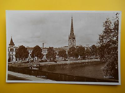 View from Bridge PERTH Perthshire *Vintage* RP 1953 River Tay Church Buildings