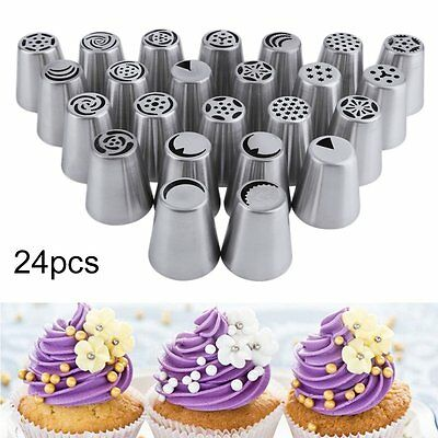 14~32pcs Russian Tulip Stainless Steel Icing Piping Nozzles Tool Cake Decoration