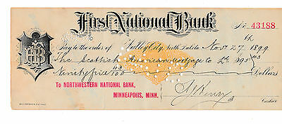1899 Antique Check First National Bank, Valley City,  North Dakota    Revenue