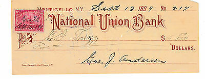 National Union Bank, Monticello, New York  1898   W/revenue