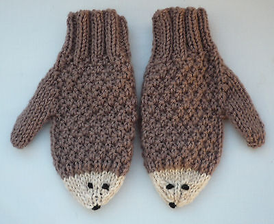 Brand New Hand Knitted Child's Hedgehog Mittens/Mitts age 5-7 yrs