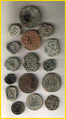 LOT(a)  16 SPANISH  ANCIENT COINS OF DIFERENT TIMES-MEDIEVAL-COLONIAL-etc.