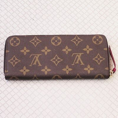 AS NEW Auth Louis Vuitton LV CLEMENCE WALLET Monogram Leather Fuchsia Red M60742