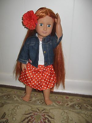 """Our Generation 18"""" Doll """"Patience"""" Hair to There Red Growing Hair"""