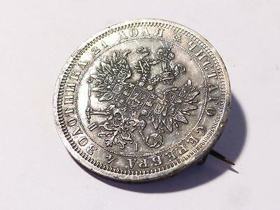 1876 Silver Russia Russian 1 Rouble Ruble Rare Coin made into Brooch CB1