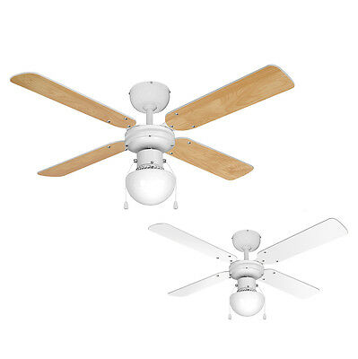 Modern White Ceiling Fan with Light - Beech Effect or White Reversible Blades