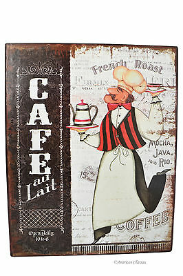 """Vintage Coffee Cafe & Fat French Chef Bistro 10"""" Metal Wall Sign Plaque Decor"""