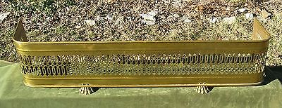 "50"" Pierced Paw Foot Brass Fireplace Fender Fire Screen Surround 19thC Style"