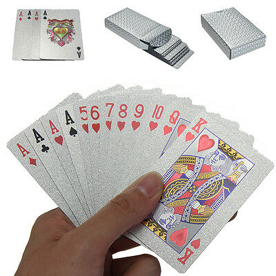 Waterproof Silver Foil Plated Poker Deck 54 Playing Cards Table Games Magic& Box