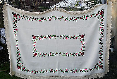 Vintage Cross Stitch Hand Embroidery Cover Cloth Rustic Textile Ethnic Tapestry