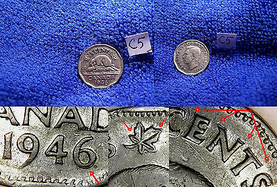 C5) 1946 5¢, Cents, DOUBLED DATE 1946/6, ++, TRENDS: $6.,ERROR / VARIETY Coin