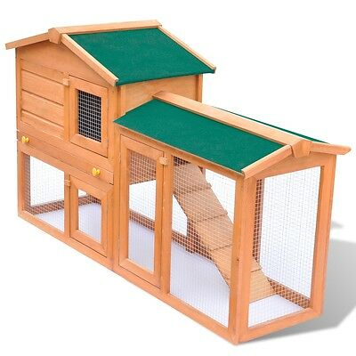 S# Rabbit Hutch Cage Pet Guinea Pig Chicken Coop Ferret House Wooden 2 Storage R