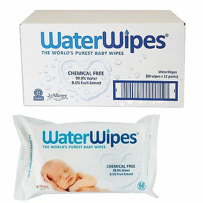 Water Wipes Natural Baby Nappy Wipes Sensitive Skin, Chemical Free x12 packs