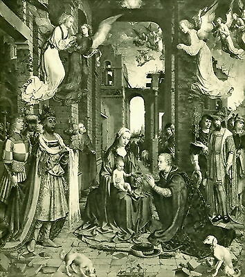 Antique original MABUSE Art Print Holy Night ADORATION OF KINGS Angel Nativity
