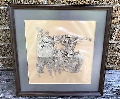 Estate Ancient egyptian Inscribed Papyrus Sheet Fragment Specimen  * Framed
