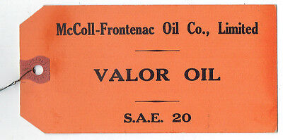 McColl - Frontenac Oil Co. Valor Oil Tag - Red Indian