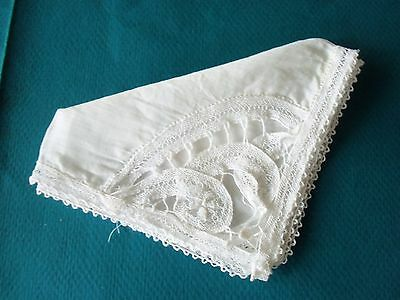 "Small Vintage 8"" Square White Lace Corner Handkerchief"