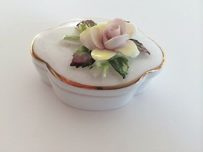 Royal Adderly Floral Bone China Vintage Jewelry Holder Container Made - England