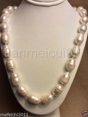 "BEAUTIFUL 12-14 MM SOUTH SEA BAROQUE WHITE PEARL NECKLACE 18"" Clasp silver"