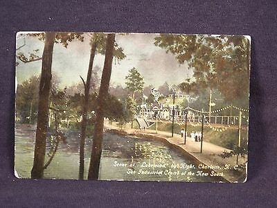 NC Charlotte Scene at Lakewood by Night 1912 Postcard