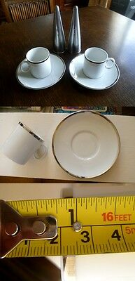 Two Vintage Thomas China Germany Platinum Medallion 4Mm Wide Band Cups & Saucers