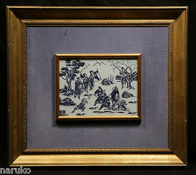 Very Nice Asian Painted Plaque Of Samurai Early 20Th C