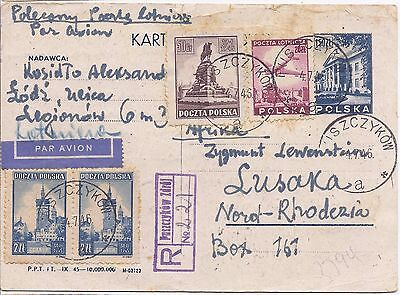 Poland 1946 stationery registered uprated airmail to Northern Rhodesia