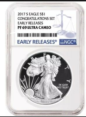 2017 S Proof American Silver Eagle Congratulations Set NGC PF 69 UC Blue ER