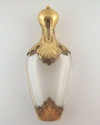Antique Dutch Gold Mounted Rock Crystal Scent Perfume Bottle + Inside Stopper