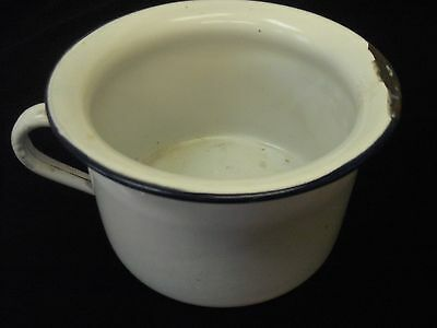 "Vintage Enamel Chamber Pot with Handle. 7 3/4"" Diameter."