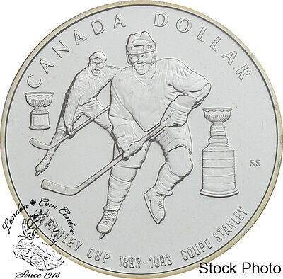 Canada 1993 $1 100th Aniv of the Stanley Cup BU Silver Dollar  - Capsule Only