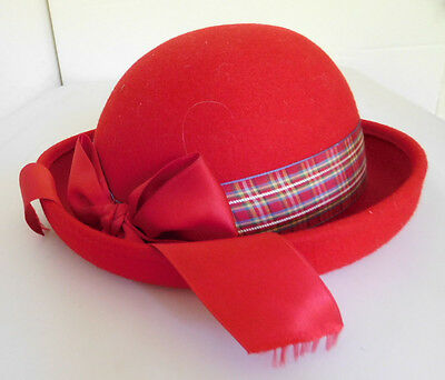 Vintage Girls Red Wool Hat Size Small Made in Itlay