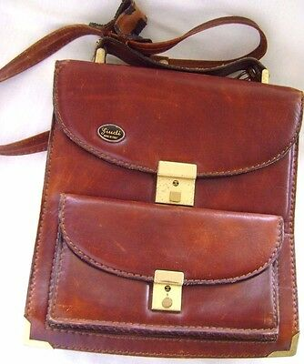 Vintage GIUDI Made in Italy  Women's Brown Leather Purse, Brief Case, Shoulder