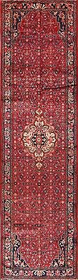 Palace Sized Traditional Floral Red Runner 4x14 Hamadan Persian Oriental Rug