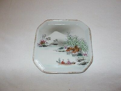 Beautiful vintage hand painted Japanese porcelain small square plate dish nice