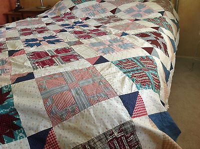 Vintage Bear's Paw Feedsack Patchwork Quilt Top Hand Pieced
