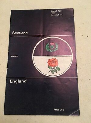 Scotland V England 1980 Rugby Programme (autographed)