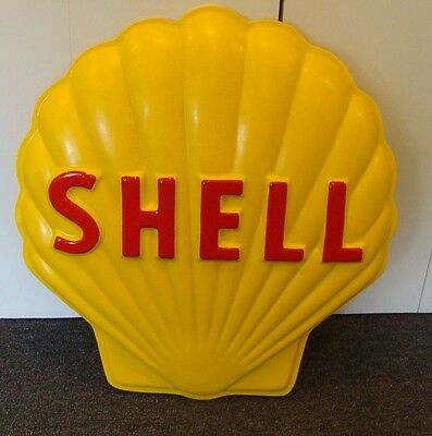 SHELL GASOLINE HEAVY FIBERGLASS EMBOSSED ADVERTISING SIGN CLAM *gas & oil