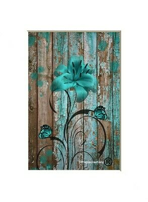 Brown Teal Rustic Modern Home Decor Bedroom Bathroom Wall Art Matted Picture