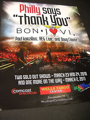 BON JOVI Philly Says Thank You PROMO POSTER AD mint!