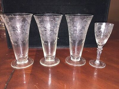 ANTIQUE ETCHED WINE CORDIAL STEMWARE SET OF 4 Cross In Flower