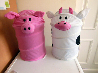 Worlds Apart Childrens Novelty Bins-Pig & Cow /toy Storage/paper Litter/ Bedroom