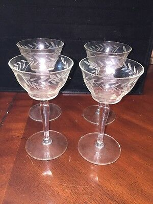 ANTIQUE ETCHED WINE CORDIAL STEMWARE SET OF 4 Flower Leaves