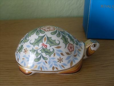 "Royal Crown Derby ""winter Tortoise"" Stunning Box & Gold Stopper Brand New"