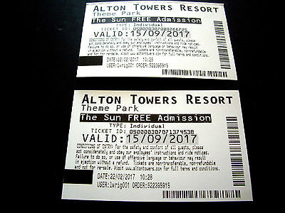 2 x Alton Towers Tickets 15th September 2017